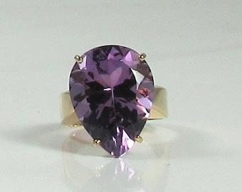 Yellow Gold Amethyst Ring, Vintage Amethyst Ring, February Birthstone Ring, Pear Shaped Amethyst
