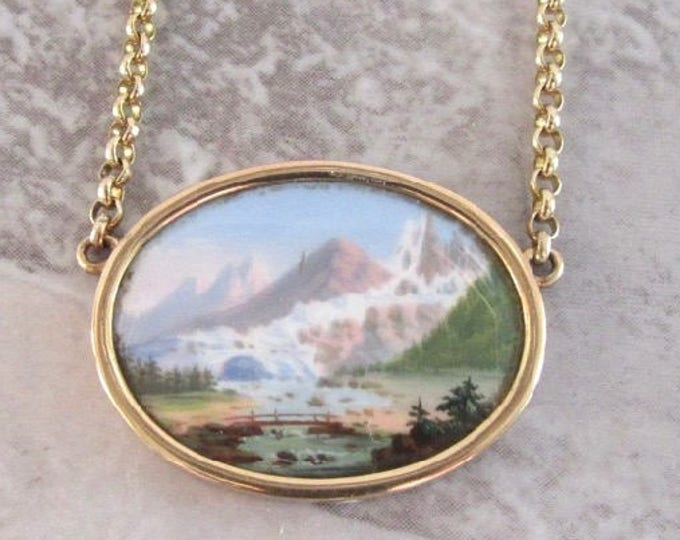 Antique Pendant, Oval Scenic Necklace, Porcelain Transfer Pendant, Mountain Scene,  Scenic Jewelry, Gold Scenic Pendant