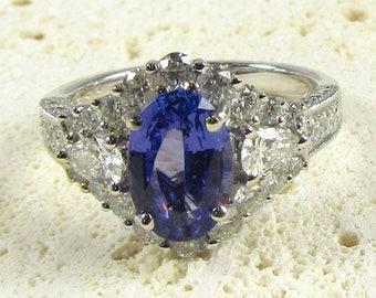 White Gold Tanzanite and Diamond Ring; Tanzanite Ring, Cocktail Ring, December Birthstone, Diamond Ring, Tanzanite Cocktail Ring