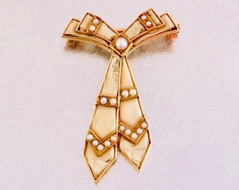 Yellow Gold Pearl and Fabric Tie Pin Stamped WAB, Wordley, Allsopp & Bliss Pin, Pin in the Shape of a Tie, Antique Pin with Pearls