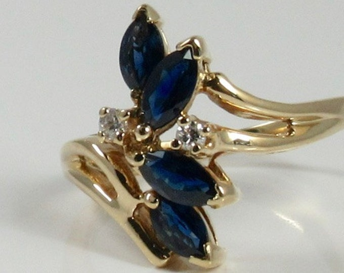 Yellow Gold Blue Sapphire and Diamond Ring; Diamond and Sapphire Ring; Vintage Sapphire Ring; September Birthstone; Sapphire Cocktail Ring