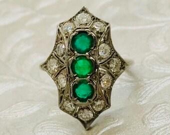 Antique Platinum Emerald and Diamond Ring, Emerald and Diamond Ring, Antique Platinum Ring, May Birthstone, Platinum Filigree Ring