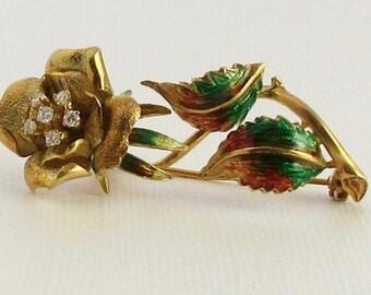 Yellow Gold Diamond and Enamel Rose Pin; Gold Flower Pin; Enamel Pin; Vintage Rose Pin; Vintage Flower Pin; Enamel and Diamond Pin
