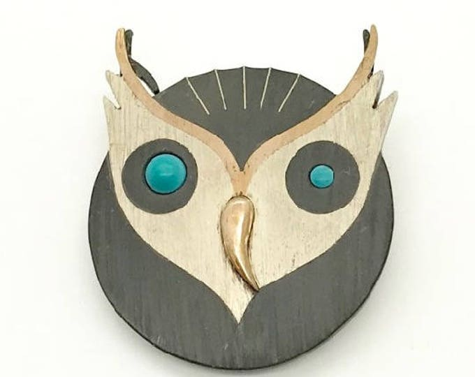 Modernistic Owl Pin or Pendant, Owl Jewelry, Sterling Owl Brooch, Piedra Negra Pin, Taxco Brooch, Owl Pin, Sterling and Turquoise Owl Brooch