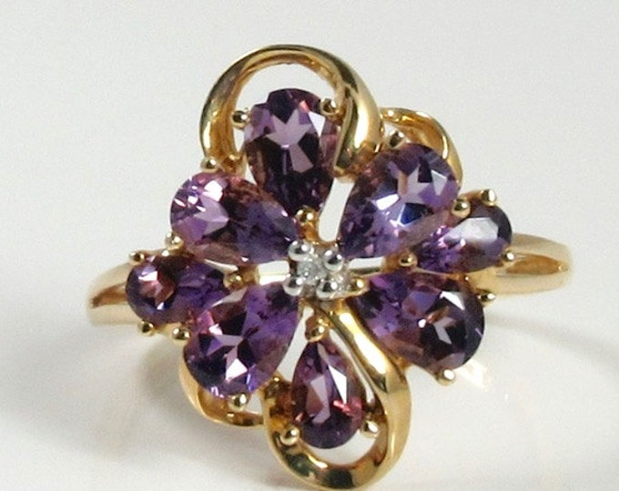 Yellow Gold Amethyst and Diamond Cluster Ring; Amethyst Dinner Ring; Amethyst Cocktail Ring; February Birthstone Ring; Amethyst Ring