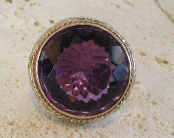 Sterling Silver Amethyst Filigree Ring, Sterling Ring with Gold Wash, February Birthstone, Birthstone Ring, Statement Ring