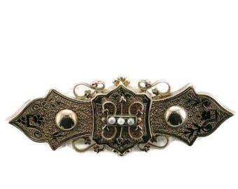 Victorian Yellow Gold and Black Enamel with Seed Pearl Bar/Collar Pin