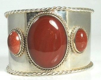 Sterling Silver Sardonyx and Gold Stone Cuff Bracelet, Cuff Bracelet, Sardonyx Bracelet, Gold Stone Bracelet, Statement Bracelet