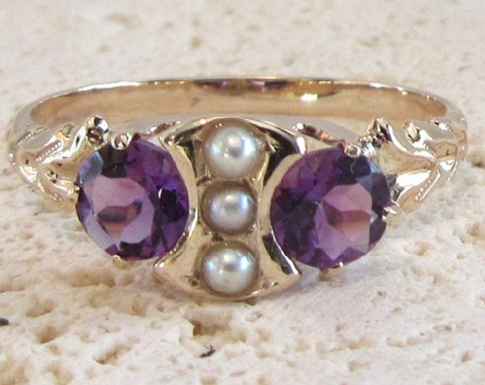 Amethyst and Pearl Ring, Antique Amethyst and Pearl Ring, February Birthstone Ring, February Birthstone, Antique Ring, Amethyst Ring