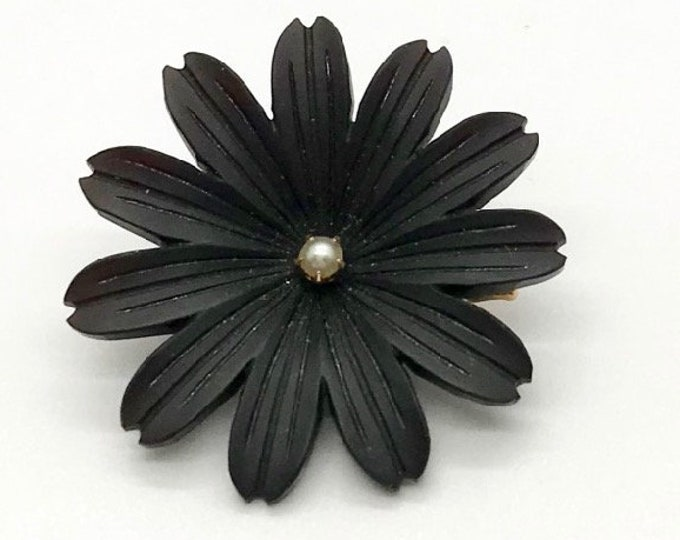 Antique Jet Pin, Jet Flower Pin, Jet and Pearl Pin, Flower Pin, Flower Mourning Pin, Mourning Jewelry, Hallmarked Pin