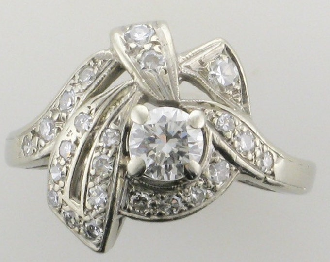 White Gold Diamond Cocktail Ring; Diamond Cocktail Ring; Cocktail Ring; Diamond Dinner Ring; Diamond Ring; Estate Diamond Ring