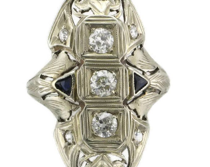 Edwardian Ladies 18 Karat White Gold Diamond and Sapphire Ring
