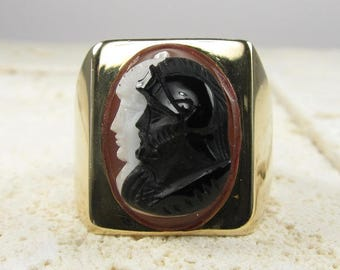 Tri Color Cameo Ring, Yellow Gold Cameo Ring, Two Headed Cameo Ring, Estate Cameo Ring, Large Cameo Ring, Yellow Gold Ring, Cameo
