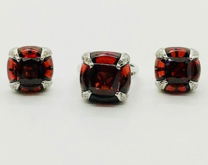 Vintage Ring and Earring Set in 18 Karat White Gold, Garnet and Diamond Ring and Earrings, Designer Jewelry Stamped GADI, January Birthstone