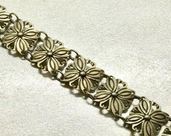 Sterling Silver Flower Design Bracelet, Bracelet Stamped Sterling, Hallmarked Bracelet, Vintage Sterling Silver Bracelet
