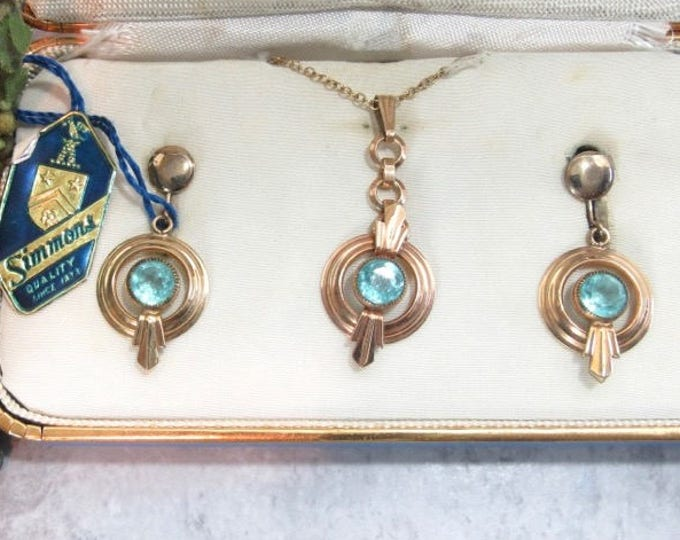 Art Deco Set, Simmons Necklace & Earring Set, Blue Rhinestone, Simmons Jewelry, Original Box with Tags, Screw Back Earrings