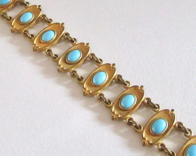 Gold Tone Art Nouveau Bracelet with Faux Turquoise, Bracelet, Antique Bracelet, Faux Turquoise, Art Nouveau Bracelet, Link Bracelet