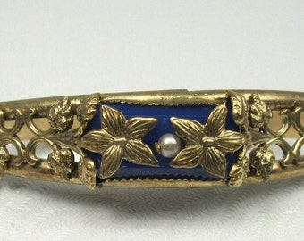 Gold Tone Floral Bangle Bracelet with Faux Pearl and Blue Glass Accent; Floral Design Bangle Bracelet; Bangle Bracelet; Vintage Bracelet
