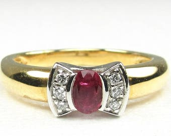 Ruby and Diamond Ring, Estate Ruby and Diamond Ring, July Birthstone Ring, Ruby Ring, Hallmarked Ruby Ring, Hallmarked Ruby and diamond Ring