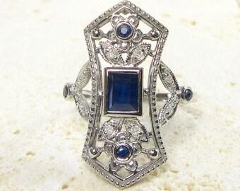 White Gold Filigree Sapphire and Diamond Ring, Blue Sapphire, Blue Sapphire Ring, Filigree Ring, September Birthstone, Birthstone Ring