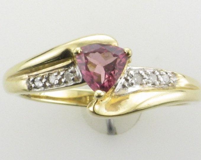 Pink Tourmaline and Diamond Ring; Triangle Cut Pink Tourmaline; High Fashion Pink Tourmaline Ring; Tourmaline Ring; Pink Tourmaline Ring