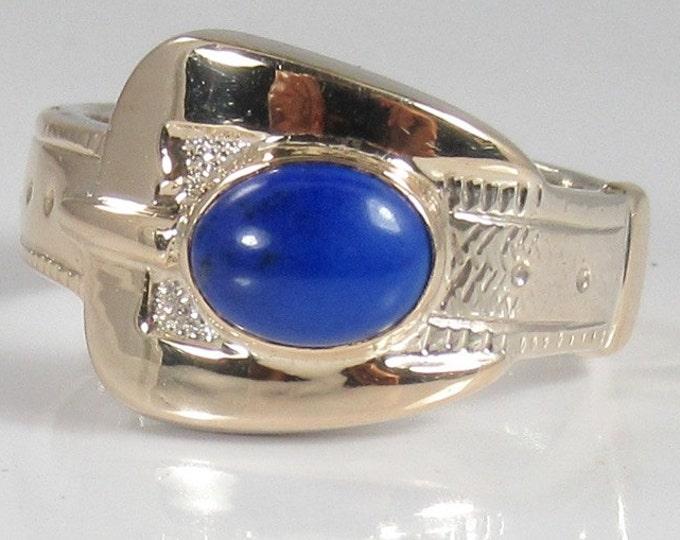 White Gold Lapis Lazuli Buckle Ring; White Gold Buckle Ring; Buckle Ring; Lapis Buckle Ring;  Lapis Ring