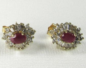 Ruby and Diamond Earrings, Vintage Ruby and Diamond Earrings July Birthstone, Birthstone Earrings, Pierced Earrings, Pierced Ruby Earrings