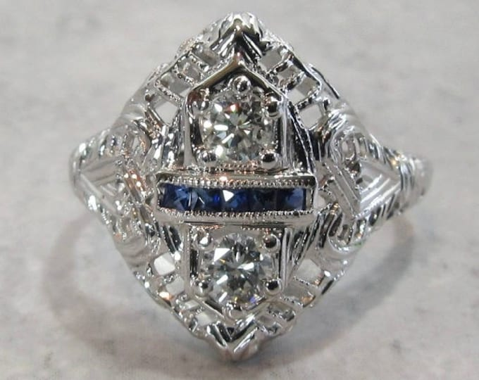 White Gold Diamond and Sapphire Filigree Ring, Antique Diamond and Sapphire Ring, Antique Filigree Ring, Sapphire and Diamond Ring