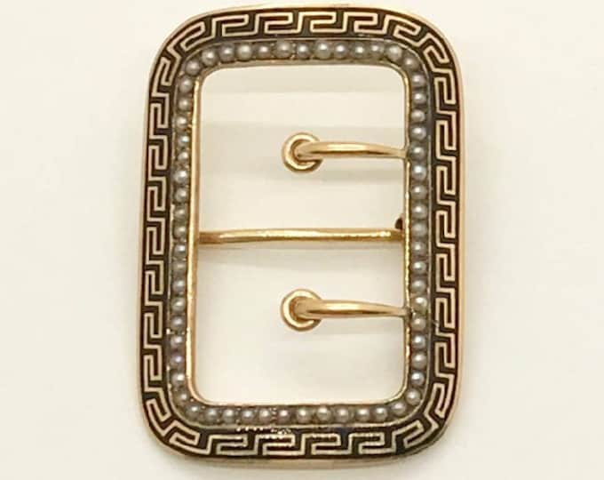 Vintage 14 Karat Yellow Gold Black Enamel and Seed Pearl Buckle Pin, Antique Pin, Hallmarked Pin, Victorian Brooch, Enamel Pin, Pin, Brooch