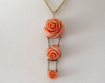 Carved Coral Pendant, Carved Coral Roses, Coral Pendant, Antique Coral Pendant, Vintage Coral Pendant, Coral Drop Pendant, Carved Coral