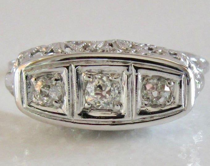 White Gold Diamond Filigree Ring, Edwardian Diamond Filigree Ring, Filigree Ring, Antique Filigree Ring, Antique Diamond Ring, Antique Ring