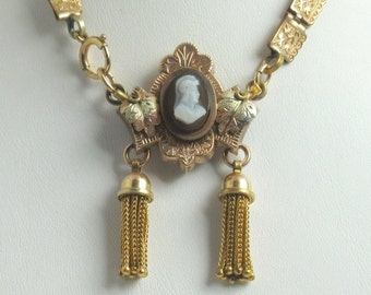 Gold Filled Cameo Watch Pin with Tassels and Book Chain; Book Chain; Watch Pin; Watch Pin with Tassels; Antique Pin with Tassels