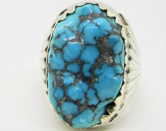 Uncut Turquoise Ring, Vintage Turquoise Ring, Vintage Silver Ring, Statement Ring, December Birthstone, Birthstone Ring, Uncut Turquoise