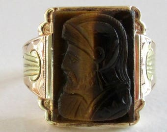 Cat's Eye Cameo Ring, Yellow and Green Gold Cameo Ring, Cameo Ring, Tiger's Eye, Cat's Eye Cameo, Vintage Cameo Ring