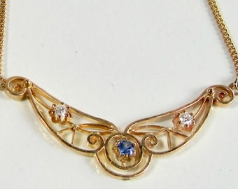 Yellow Gold Sapphire and Diamond Necklace, Antique Sapphire and Diamond Pendant/Pendant, Blue Sapphire and Diamond, September Birthstone