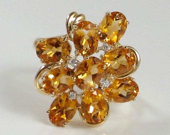 Yellow Gold Citrine and Diamond Ring; Cocktail Ring; Dinner Ring; Citrine Ring; Citrine Cluster Ring; Citrine and Diamond Ring