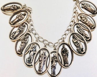Sterling Silver Twelve Apostle Medallion Charm Bracelet, Religious Bracelet, The Twelve Apostles, Vintage Religious Medals