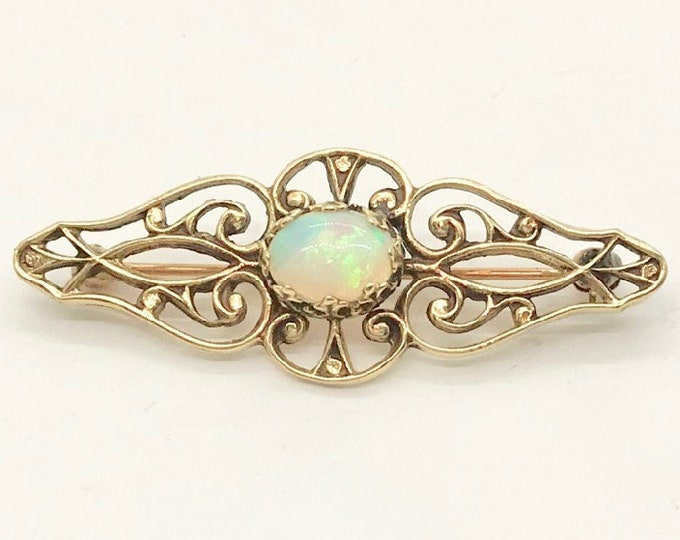 Antique Yellow Gold Opal Pin, Opal Bar Pin, Yellow Gold Filigree Pin, October Birthstone, Antique Bar Pin, Vintage Opal Pin