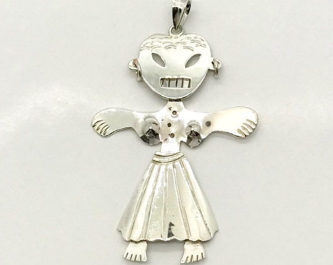 Vintage Sterling Silver Girl Pendant Stamped Mexico, Sterling Silver Girl, Jointed Sterling Silver Girl Pendant