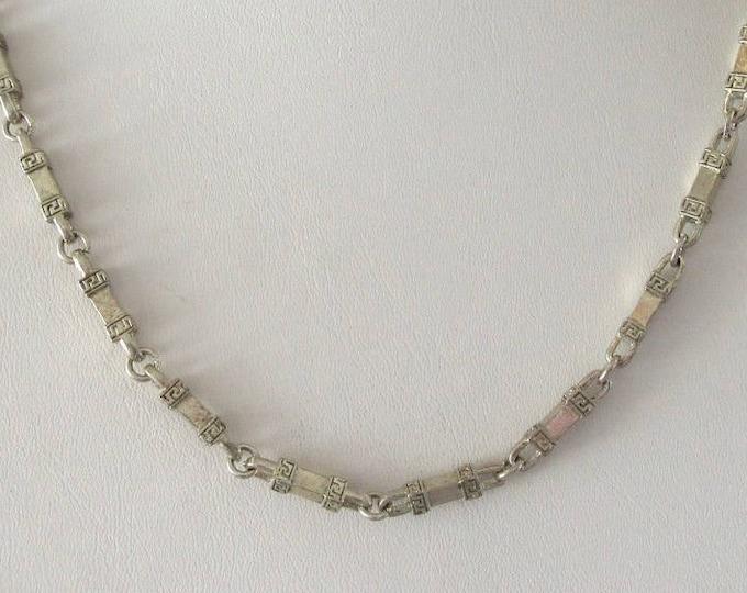 Silver Heavy Fancy Link Necklace, Silver Link Necklace, Vintage Silver Necklace, Vintage Necklace, Fancy Link Necklace