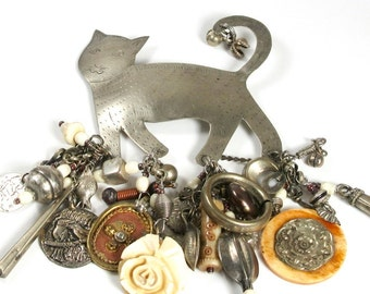 Repurposed Cat Pin; Charm Pin; Cat Charm Pin; Cat Pin; Kitty Cat Pin; Signed Cat Charm Pin
