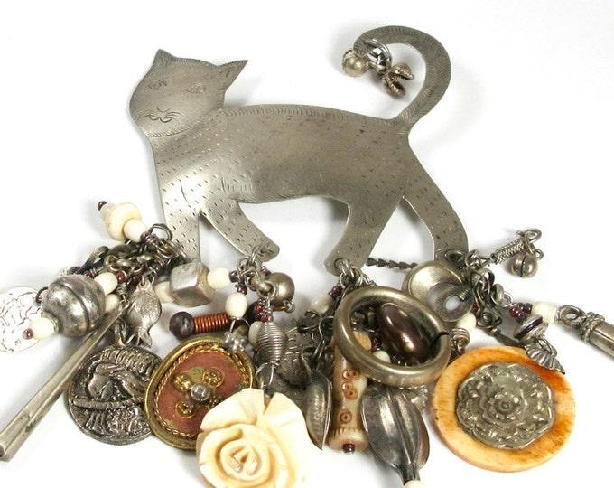 Repurposed Cat Pin, Charm Pin, Cat Charm Pin, Cat Pin, Kitty Cat Pin, Signed Cat Charm Pin, Upcycled Pin