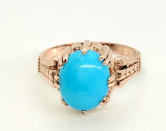 Yellow Gold With Slight Rose Tint Turquoise Ring, December Birthstone Ring, Turquoise Ring, Gold Turquoise Ring