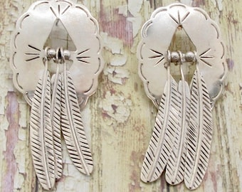 Sterling Silver Feather Earrings, Vintage Feather Earrings, Pierced Earrings, Dangle Earrings