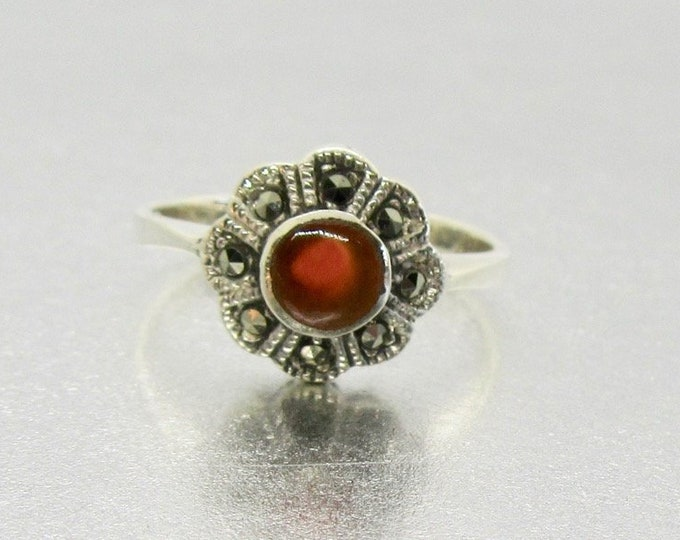 Vintage Sterling Silver Carnelian and Marcasite Ring, Marcasite Ring, Sterling Silver Carnelian Ring, Ring with Floral Design