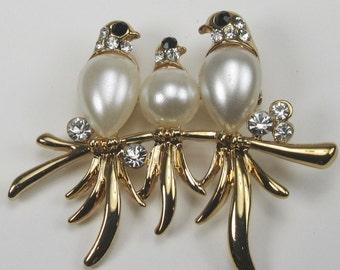 Costume Bird Pin with Rhinestone Accents; Bird Pin; Bird Pin with Faux Pearl Bodies; Faux Pearl Bird Pin; Gold Tone Bird Pin