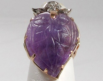 Carved Amethyst and Diamond Ring; Amethyst Statement Ring; Carved Amethyst; Strawberry Design Ring; Amethyst and Diamond Ring; Amethyst