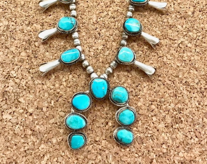 Vintage Sterling Silver Turquoise Squash Blossom Necklace, Turquoise Necklace, Silver Turquoise Necklace