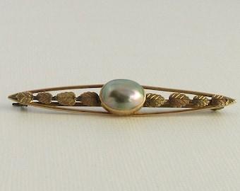 Yellow Gold Pearl Bar Pin; Antique Pearl Pin; Vintage Pearl Pin; Bar Pin; Antique Bar Pin; Pearl Pin