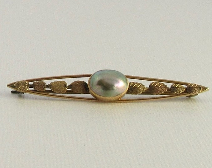 Yellow Gold Pearl Bar Pin; Antique Pearl Pin; Vintage Pearl Pin; Bar Pin; Antique Bar Pin; Pearl Pin